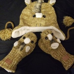 Pony Hat and Mittens Set